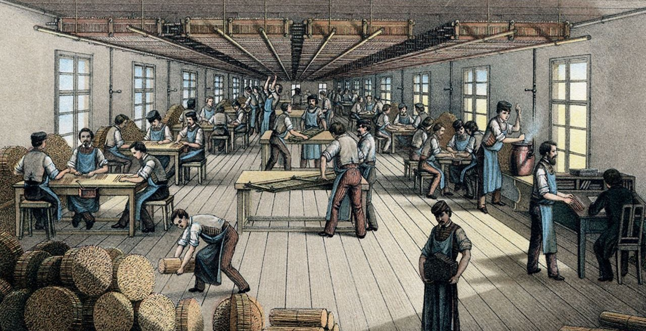 Gluing the pencil leads into cedar wood, around 1861