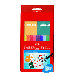 10-Pieces Connector Pen Colouring Set with Alphabet and Animal Name Cards