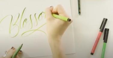 """Handlettering """"Blossom"""" with Pitt Artist Pen"""