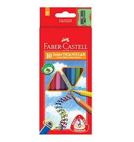 10-Pieces Junior Triangular Colour Pencils with Sharpener, 0.3mm Lead