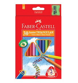 30-Pieces Junior Triangular Colour Pencils with Sharpener, 0.3mm Lead