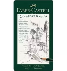 12-Pieces Castell 9000 Graphite Pencil Design Set in Tin