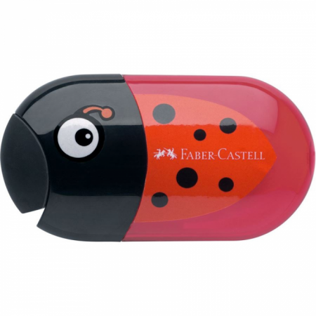2 Hole Sharpener & Eraser, Ladybird