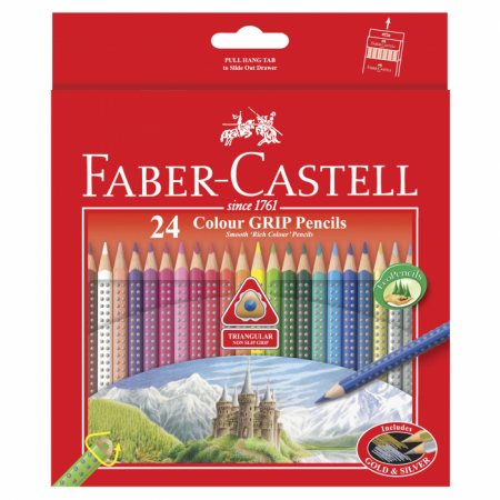 24-pieces Colour Grip Pencils