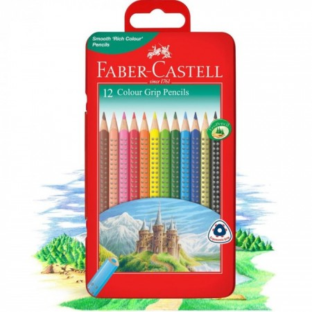 12-Pieces Colour Grip Pencil in Metal Tin