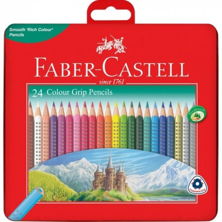 24-Pieces Colour Grip Pencil in Metal Tin