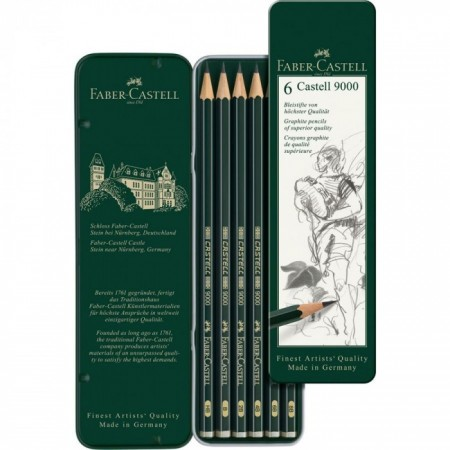 6-Pieces Castell 9000 Graphite Pencil in Tin