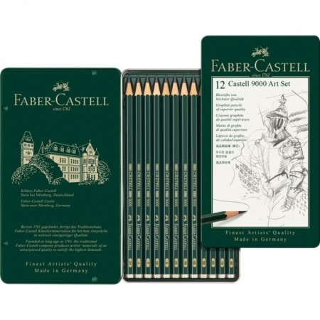 12-Pieces Castell 9000 Graphite Pencil Art Set in Tin