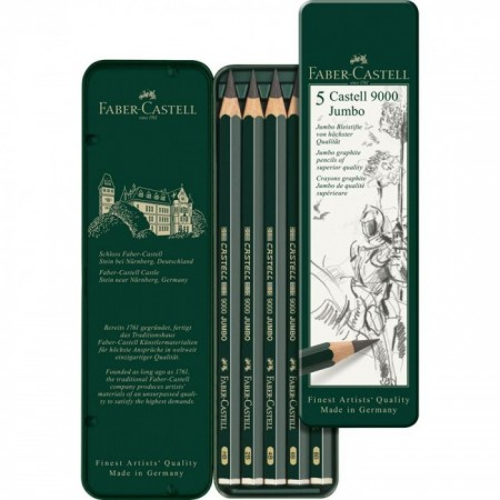 5-Pieces Castell 9000 Jumbo Graphite Pencil in Tin