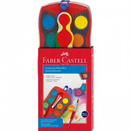 12 Colours Connector Paint Box with Brush, Red