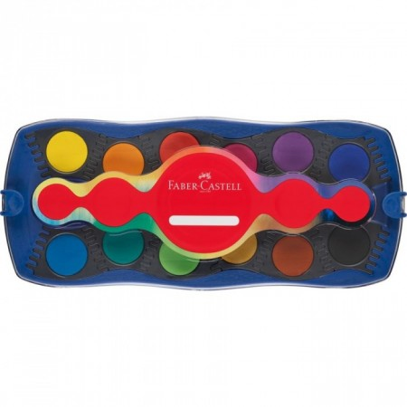 12 Colours Connector Paint Box with Brush, Blue